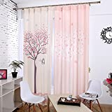 KoTing Home Fashion Polyester Modern Hearts Romantic Love Tree with Funny Little Birds Print Window Curtains Drapes Plain Top,57 by 102-inch,for kids room,Set of 2 Panels