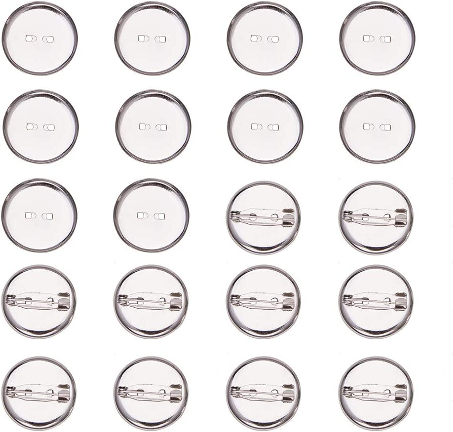 50x Silver Round Brooch Back Bar Pins Badge Cabochon Settings Tray Base 13mm