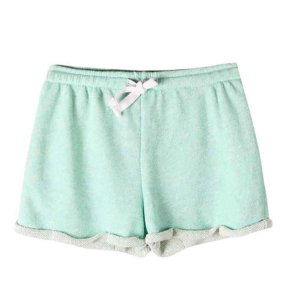 Elastic Shorts for Women Casual,Women Solid Shorts Causal Sexy Home Short Shorts Pants Women's Fitness Pants,Men's Sleepwear,Green,S