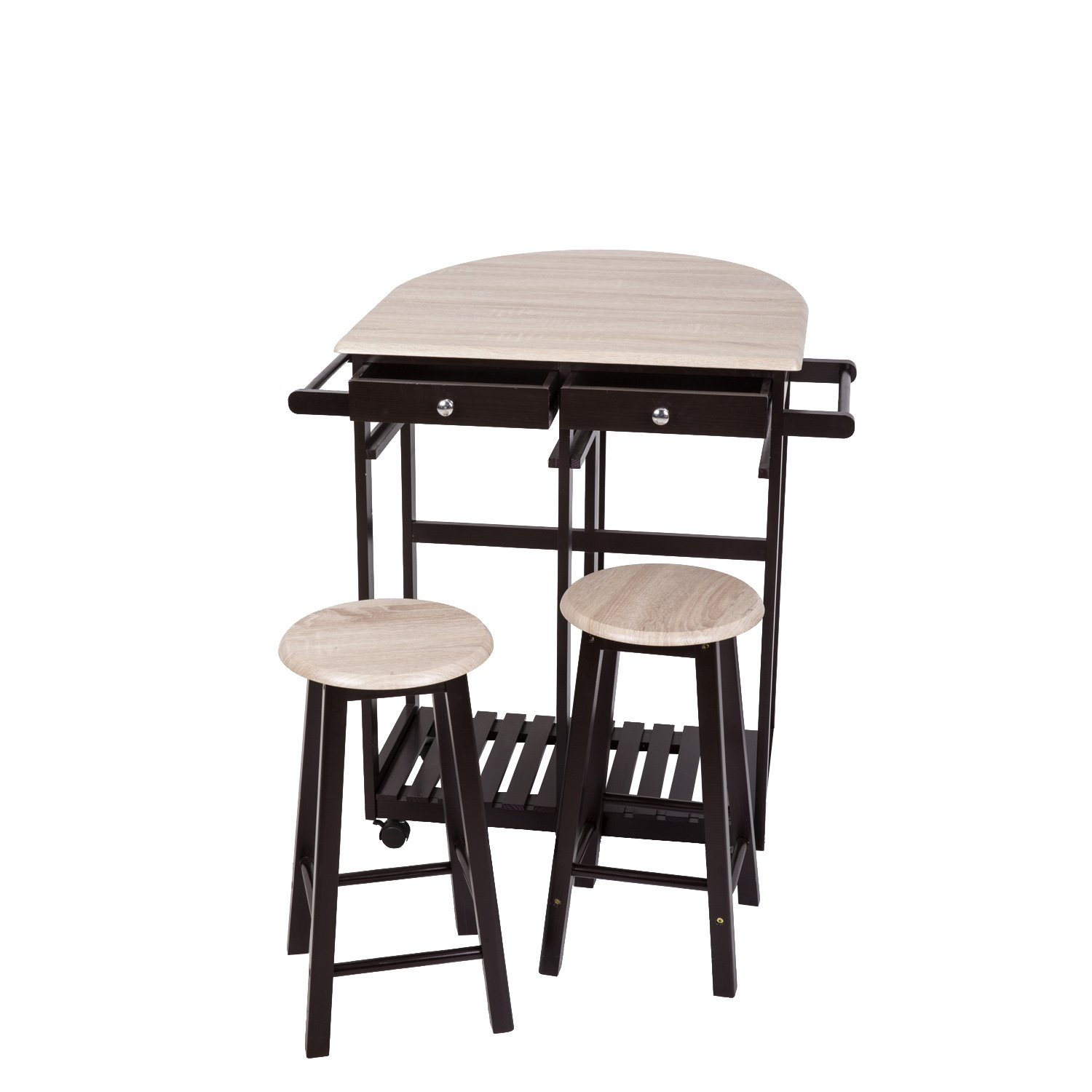 Peach Tree 3-Piece Table Dining Set Home Kitchen Furniture Wooden Rolling Kitchen Trolley Cart Island Foldable Table Drop Leaf, Breakfast Bar, Dining Table Set w/2 Stools by Kinsunny