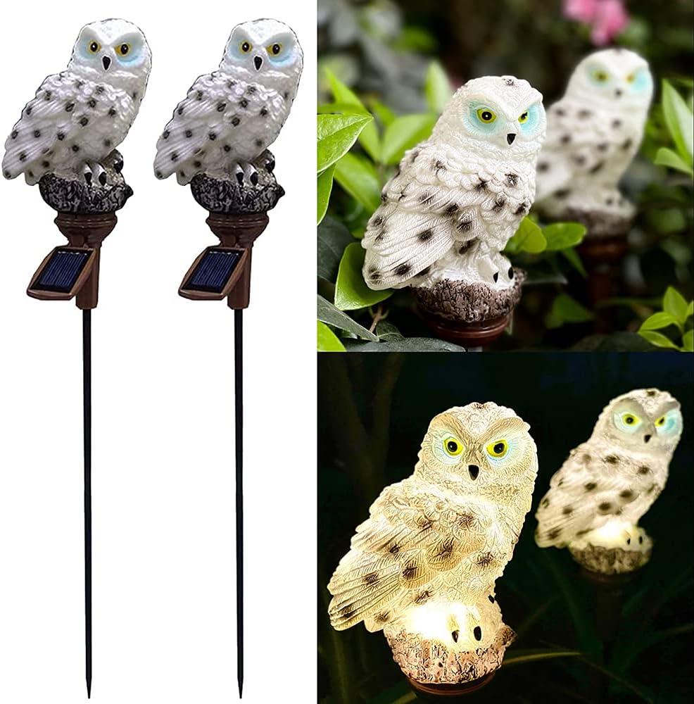 2 Pack Solar Owl Garden Light, Outdoor Path Solar Powered Owl Stake Lights for Walkway Yard Lawn Landscape Lighting (White Owl)