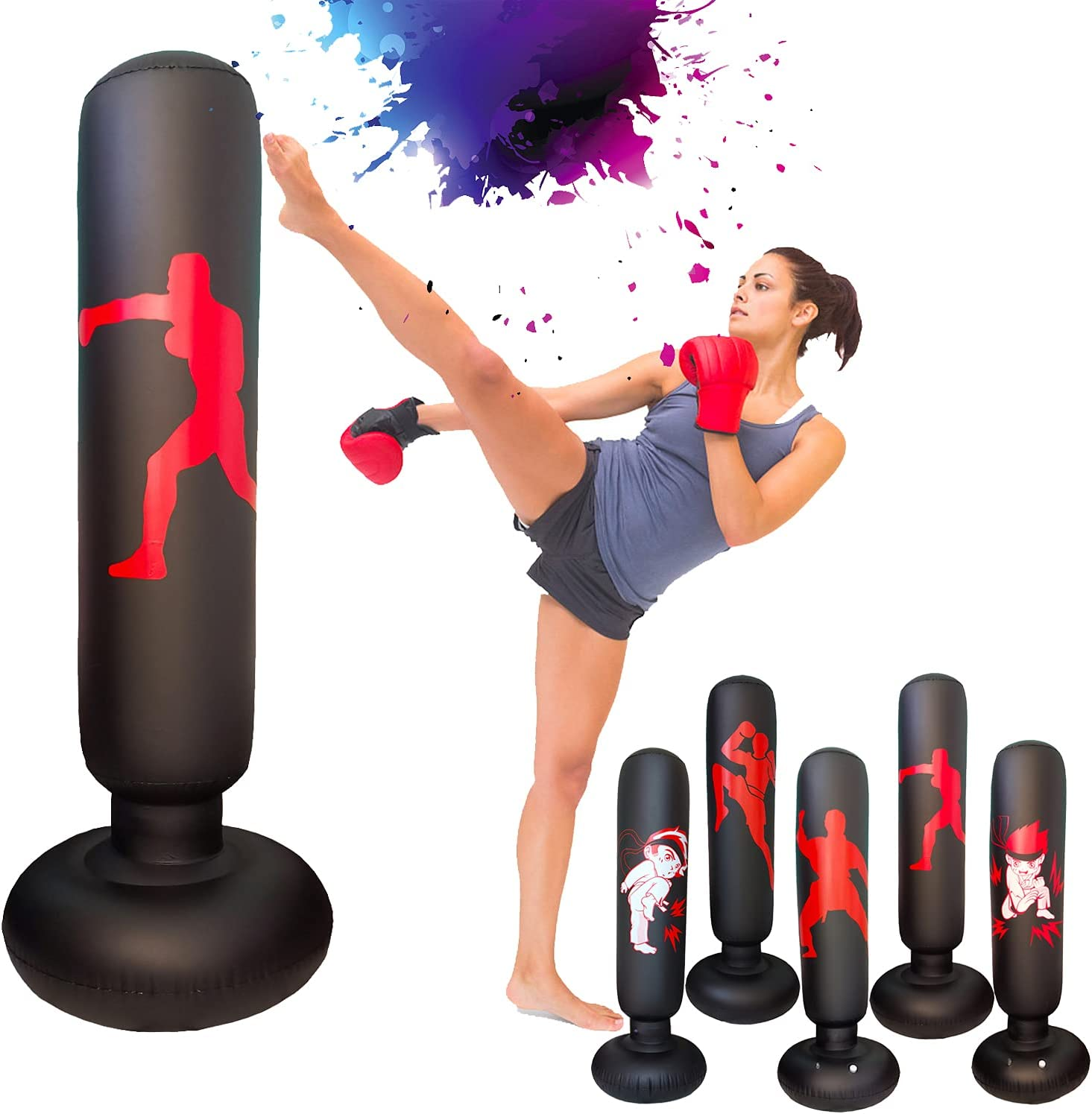Bounce Back for Practicing Karate 63 Inch Freestanding Boxing Inflatable Punching Bag for Kids GGTYHAO Punching Bag for Kids Taekwondo Home Training Equipment