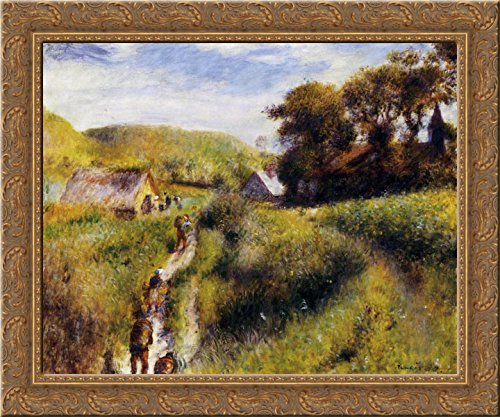 (Grape Harvesters 24x20 Gold Ornate Wood Framed Canvas Art by Renoir, Pierre Auguste)