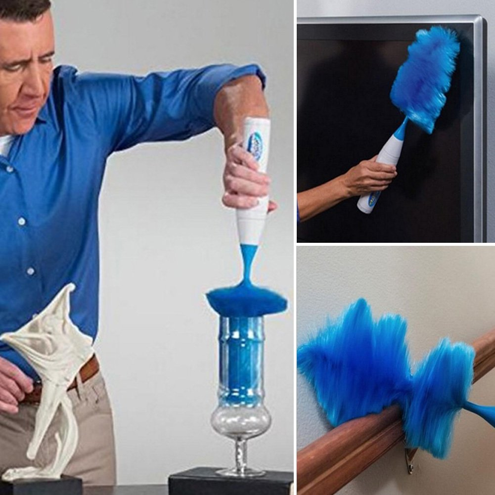 Electric spin Duster, girevole a 360° con spazzola–come visto sulla TV gadget show- Feather Brush, funzionamento a batteria, senza fili, spinning Action, blu WERTAZ