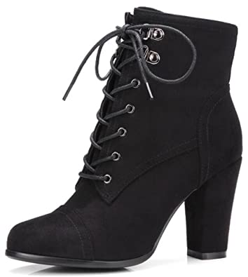 Women's Trendy Pointed Toe High Chunky Heels Lace Up Martin Ankle Boots With Side Zipper