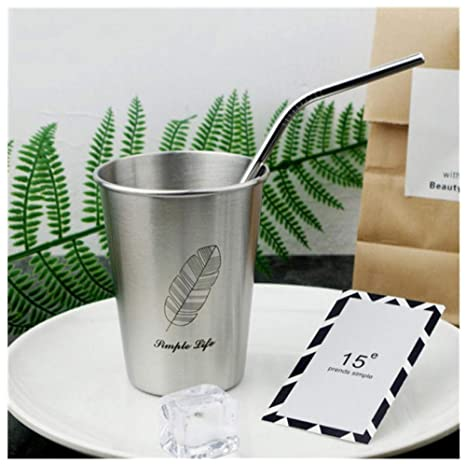 Amazon.com: 350ml tazas de paja de Metal de breve vaso de ...