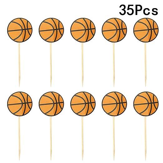 LUOEM 35 piezas de baloncesto Cupcake Toppers cumpleaños pastel de ...