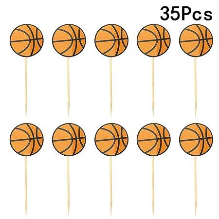 35 piezas de decoración para cupcakes de baloncesto con ...