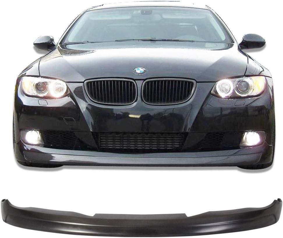 V Style Unpainted PU Spoiler Splitter by IKON MOTORSPORTS 2008 2009 Front Bumper Lip Compatible With 2007-2010 BMW E92 E93 Pre LCI 3 Series