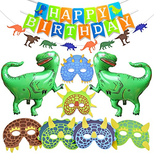 Kreatwow Dinosaur Birthday Party Decorations Dinosaur Balloons Masks Party Favors Happy Birthday Banner for Boys Birthday Party Baby Shower