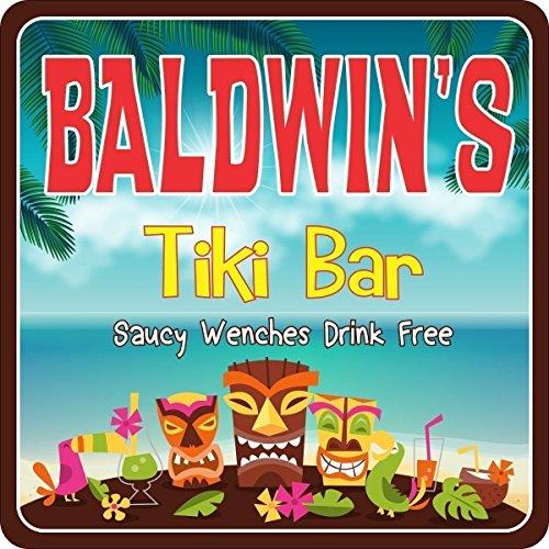 Personalized Tiki Bar Sign with Tribal Tiki Masks & Your Custom Name - Tropical Decor for Your Beach House or Home Bar - Tiki Bar Decor