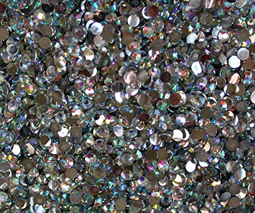 """100% Custom Made (6.5mm) 1000 Bulk Pieces of Small Size """"Glue-On"""" Flatback Embellishments for Decorating, Made of Acrylic Resin w/ Shiny Iridescent Crafting Rhinestone Crystal Diamond Style {Clear} by mySimple Products"""