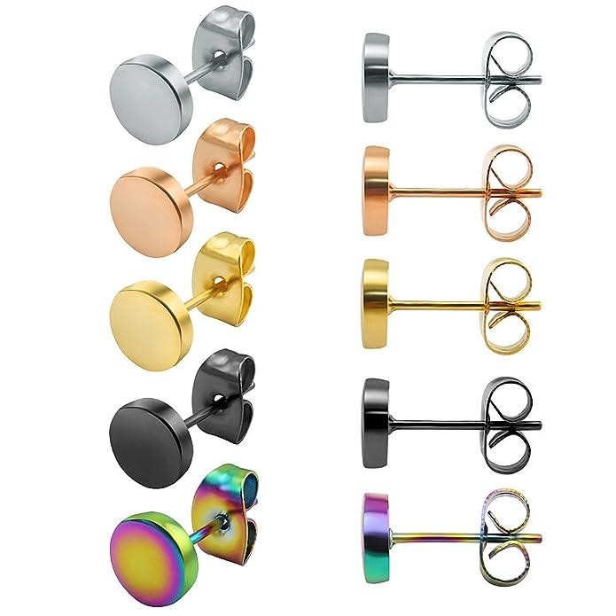 ZeSen Jewelry 5 Pares Pendientes de Acero Inoxidable Pendientes Falsas Dilataciones cartílago de la hélice de la Concha 10MM x 5 Pares: Amazon.es: Joyería