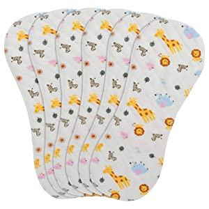 6-Pack Baby Burp Cloths, 100% Organic Cotton, Six Ultra-Absorbent Layers, Newborn Cloth Diapers Set, Spit Up Cloths for Newborns Baby Girls Shower/Registry Gift Set