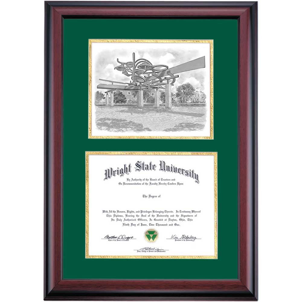 Campus Linens Wright State Raiders Diploma Frame Green Gold Matting Pen & Ink