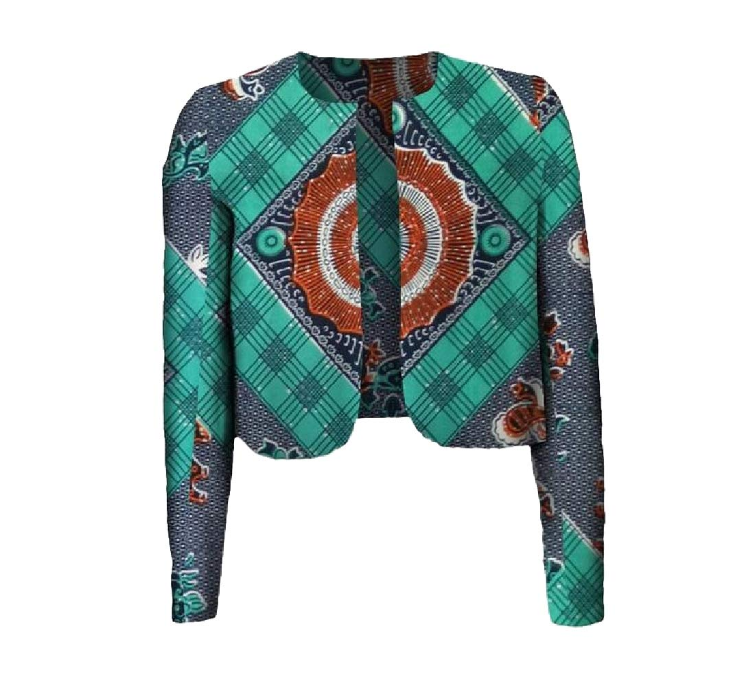 Aooword Women Crop Top Batik Africa Floral Coat Dashiki Cardigan Jacket 10 XL