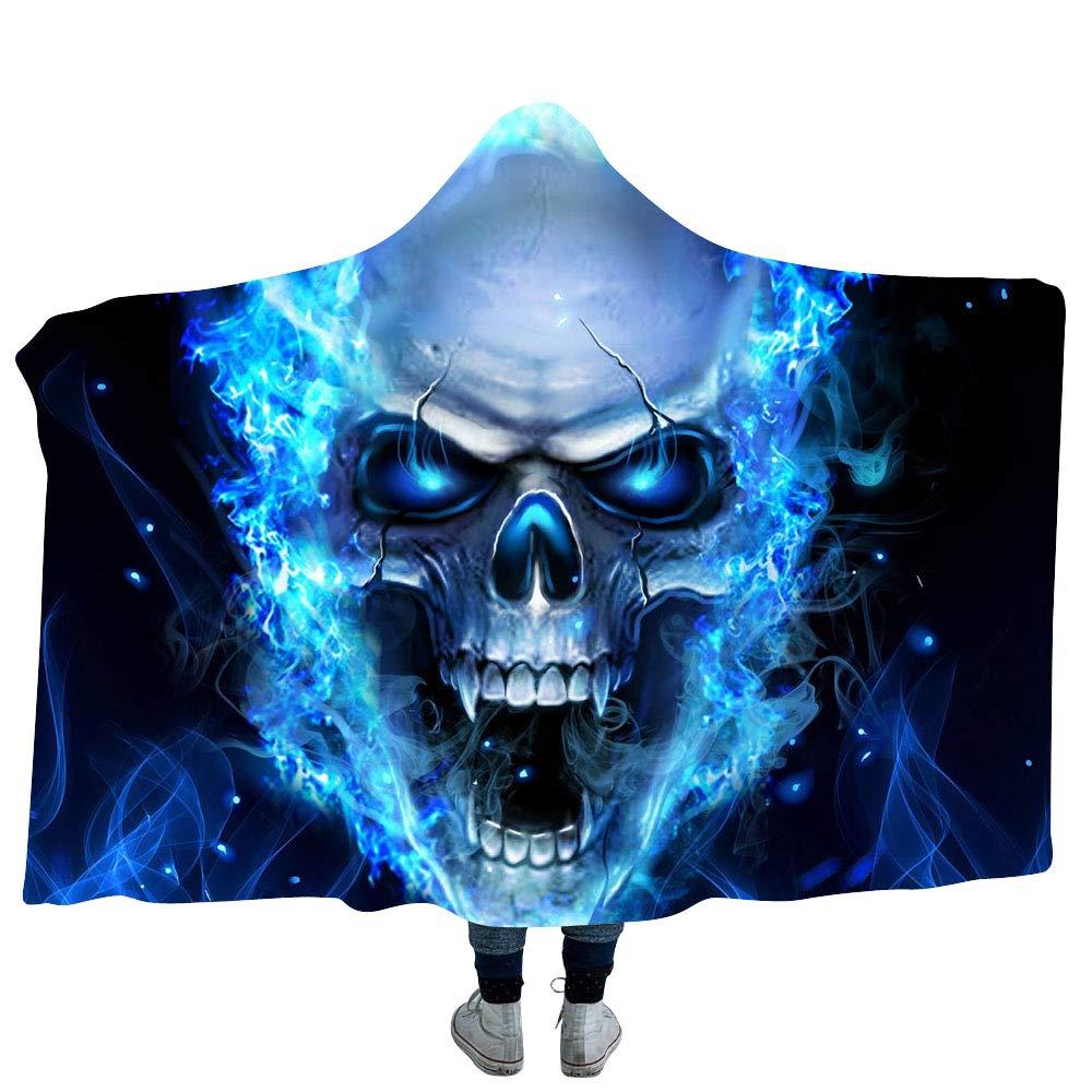 YEARGER Couverture à Capuche en Flanelle Microfibre 3D Motif tête de Mort Bleu, A, 130 * 150