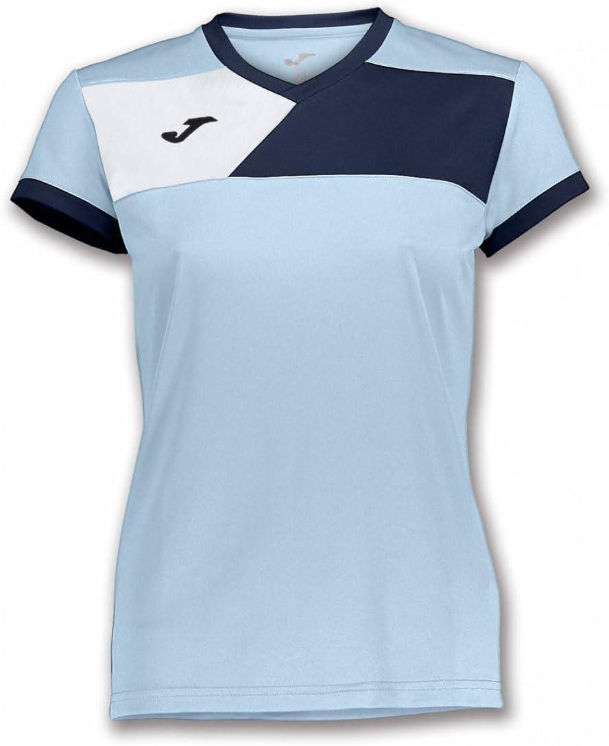 Joma Camiseta Crew II M/C Celeste-Marino Mujer - Camiseta técnica ...