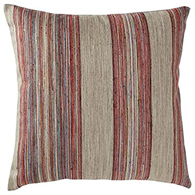 "Rivet Bohemian Stripe Decorative Pillow, 17"" x 17"", Fuschia - Violet and grey mixed with subtle threads of blue, green, and yellow form stripes on this pillow's front, while slubs in the fabric provide texture. This pillow will freshen your room with up-to-date colors and is easy to mix and match with other pillows. Striped, textured front and linen-look back Sewn in U.S. cover is durable polyester; inside shell is cotton - living-room-soft-furnishings, living-room, decorative-pillows - 616ZBoTgjVL. SS400  -"