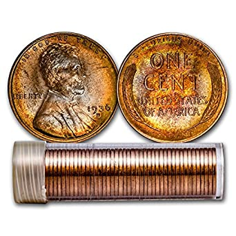 Old Lincoln Wheat Penny Roll with Vintage BU Penny on end Brilliant Uncirculated