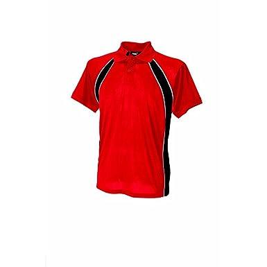 Finden & Hales LV350 Performance Polo Team Shirt-Rot, Schwarz/Weiß,