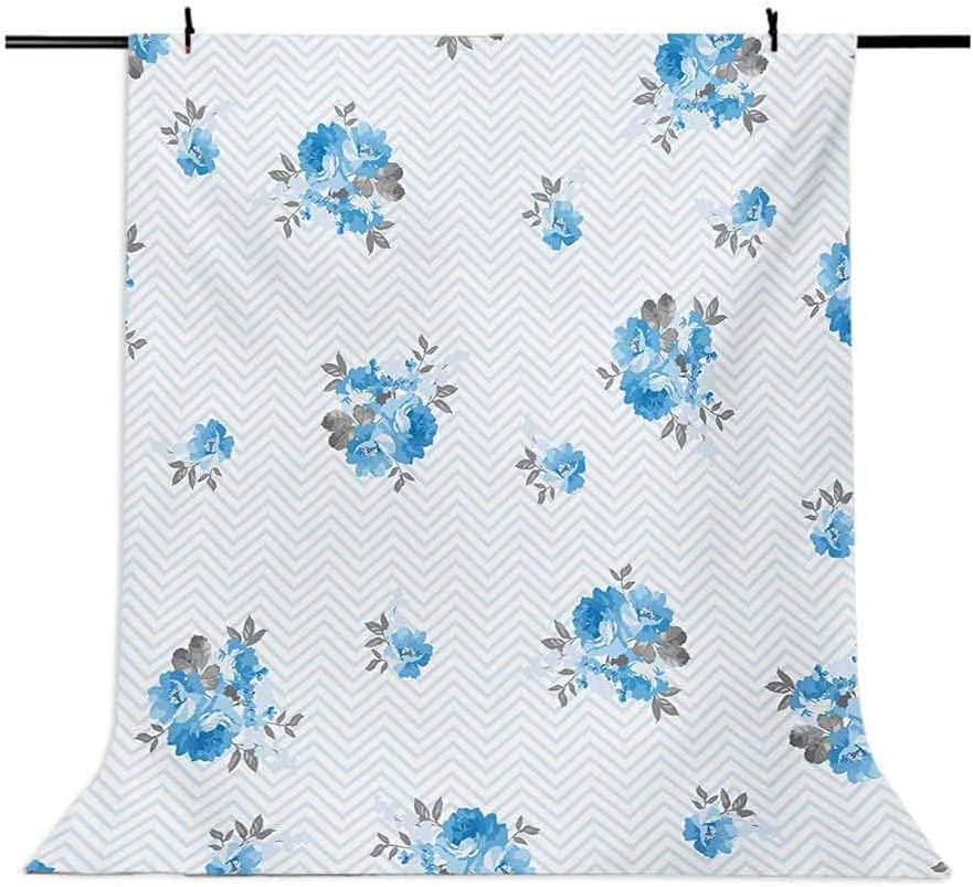 Rose 10x12 FT Photography Backdrop Floral Theme Illustration of Blue Rose Flower Romantic Springtime Design Print Background for Photography Kids Adult Photo Booth Video Shoot Vinyl Studio Props