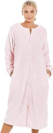 Camille Bata de casa Mujer Supersoft Light Pink Zip Up Diamond Print 46/48