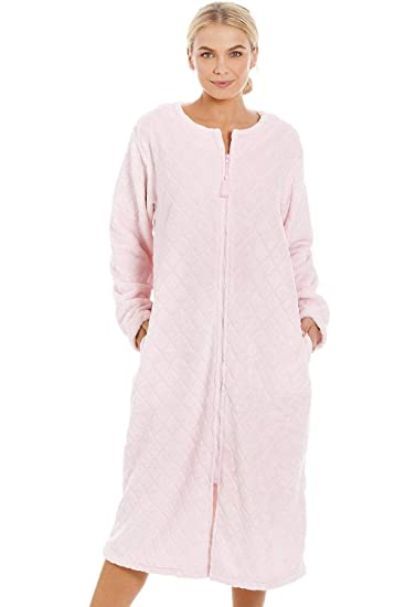 Camille Womens Supersoft Light Pink Zip Up Diamond Print Housecoat   Amazon.co.uk  Clothing 4acd91ee7