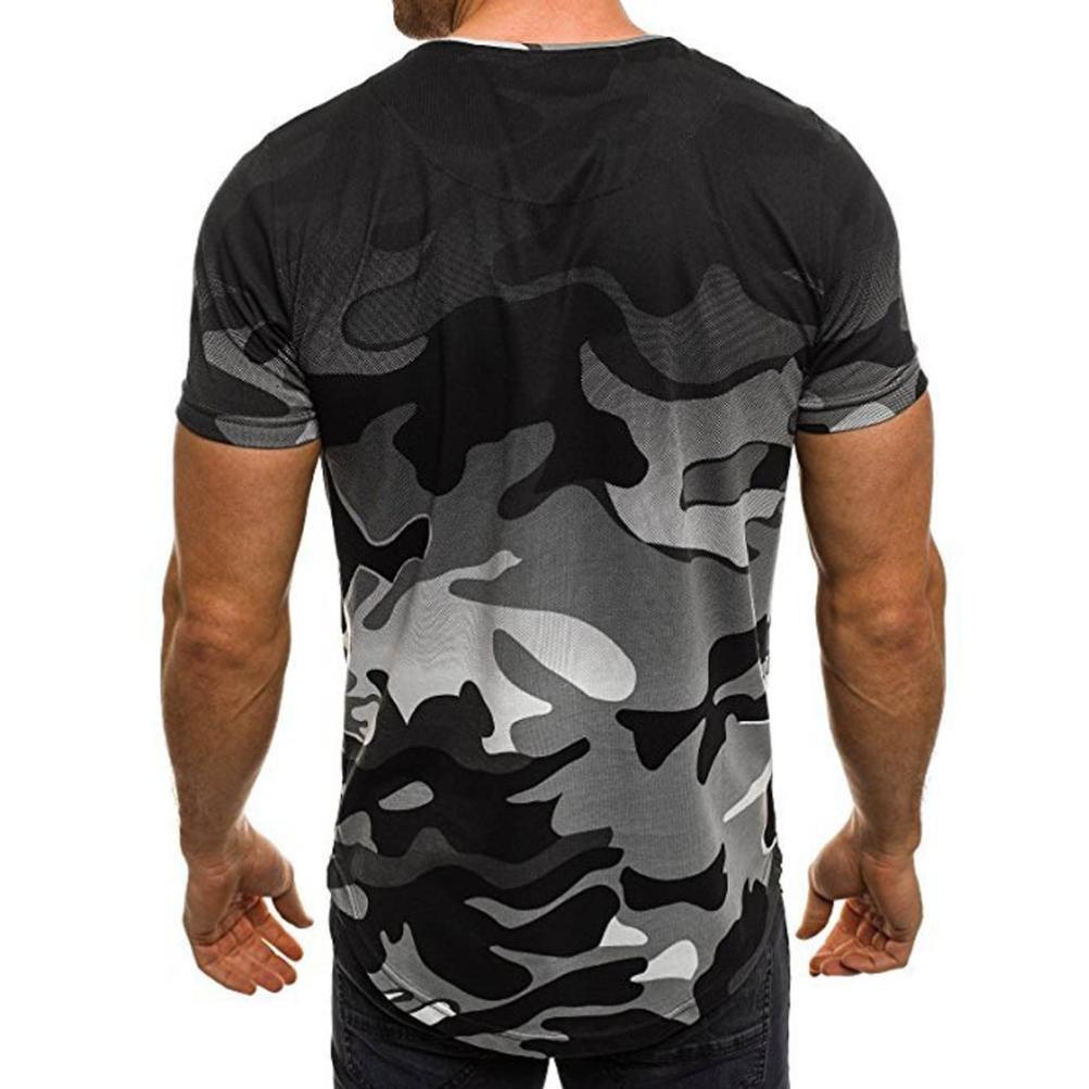 Koly Camisa de Hombre Manga Corta Camisas de Vestir Slim Fitness Tops Camisetas Blusa de Camouflage Camisa de Polo de Corte Camiseta Térmica de Compresión ...