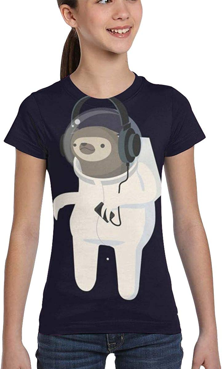 Girls Casual Loose Short Sleeve Cute Sloth Dabbing Fashion Round Neck Tops Tee Shirts