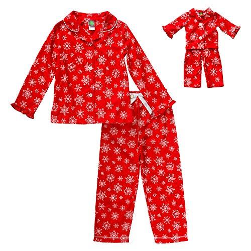 Dollie & Me Big Girls' Snowflake Sleepwear Set, Red, 8 -