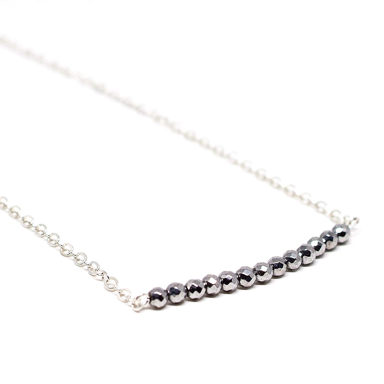 Karelian Heritage Silver Hematite Bar Necklace Solar Plexus Chakra Balancing Aquarius Birthstone Jewelry CO96