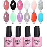 AIMEILI Soak Off UV LED Gel Nail Polish Multicolour/Mix Colour/Combo Colour Set Of 12pcs X 10ml - Kit Set 2