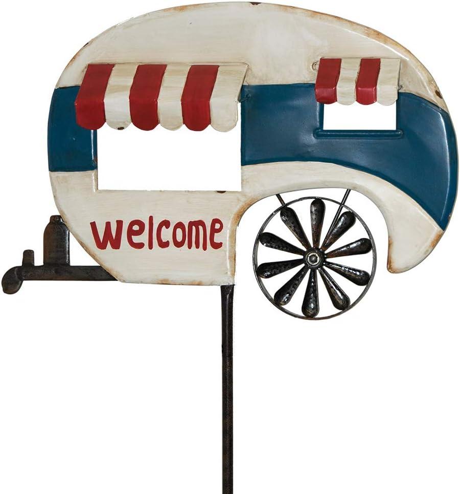 "Briarwood Lane Camper Metal Wind Spinner Welcome Yard Stake 20"" x 63"""