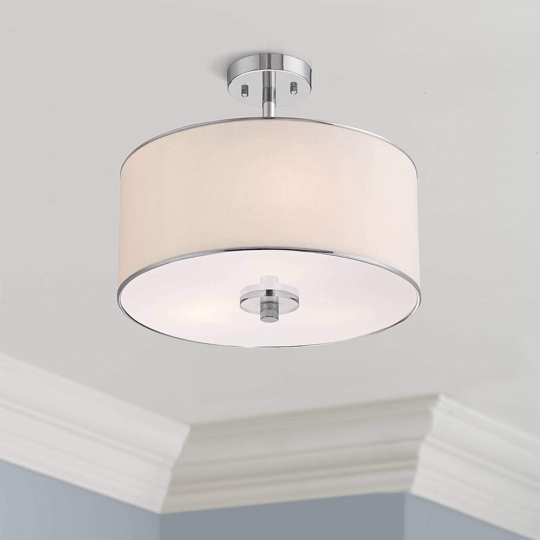 Elsa modern ceiling light semi flush mount fixture chrome 16 wide white fabric drum shade for bedroom kitchen living room hallway bathroom possini
