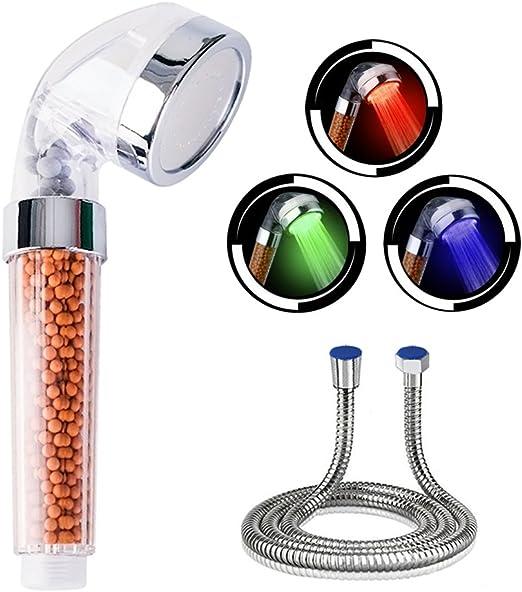 7 Farben LED Duscharmatur Brause Duschkopf Handbrause Halter Schlauch SPA Filter