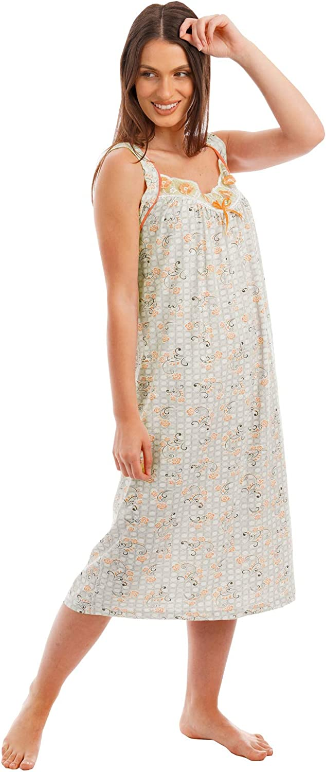 i-smalls Ladies Easy Fit Easy Care Long Length Wide Strap Sleeveless Floral Print Cotton Nightdress Nightie with Intricate Lace Detail Border