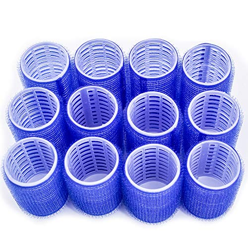 Hair Rollers, 12 Pack Self Grip Salon Hairdressing Curlers, DIY Curly Hairstyle,Colors May Vary, Large