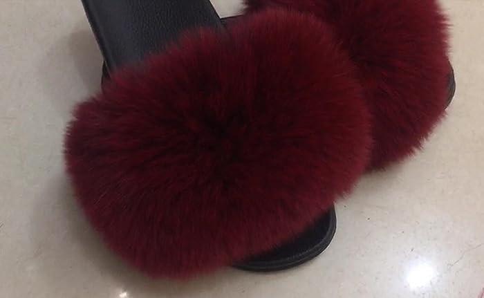 f4bd4974e448 Amazon.com  Puffs Sandals Pom Poms Plush Furry Women Sandals Fluffy Flip  Flops Women Fashion Flip-Flops Burgundy Fuzzy  Handmade