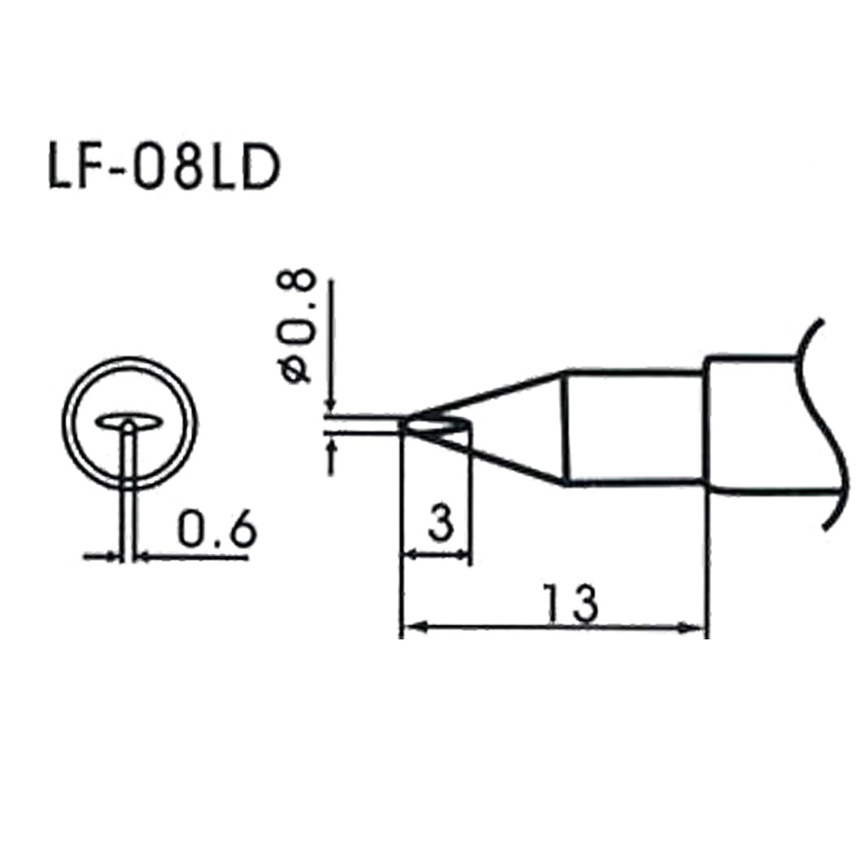 AOYUE WQ//LF-08LD bleifreie L/ötspitze /Ø0.8mm x 0.6mm L/ötstation L/ötkolben