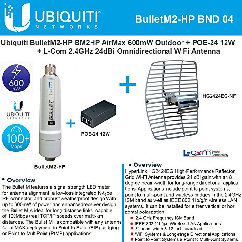 Ubiquiti BulletM2-HP BM2HP 600mW Outdoor + POE-24 12W + 2.4GHz 24dB Grid Antenna by Ubiquiti Networks