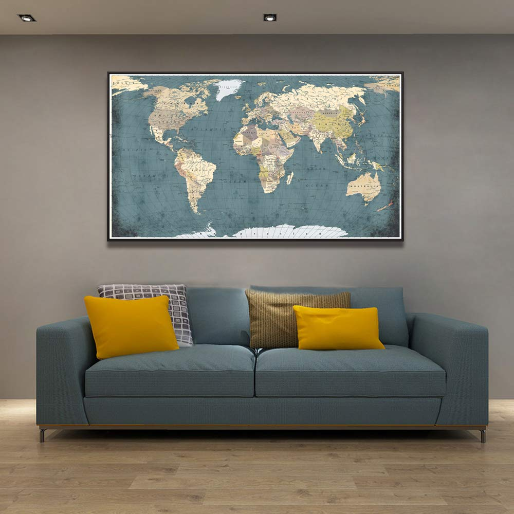 Welmeco Large Office Wall Decoration Retro Detailed World Map Canvas Prints with Premium Black Frame Vintage Push Pins Travel Map of The World Picture ...