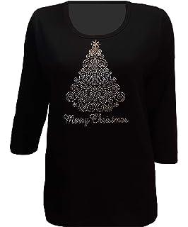 Jess and Jane Christmas Star Holiday Tree Snowflake Black Shirt Size New