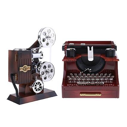IPOTCH Máquina De Escribir Y Proyector De Películas Caja De Música Diseñada Artes Mecánicas Regalo De