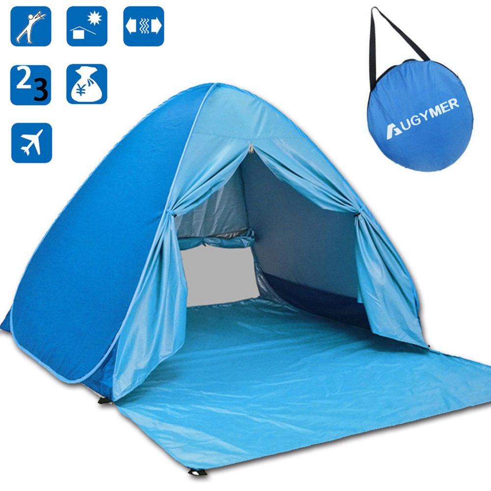 Augymer Beach Tent, Uv Pop Up Sun Shelter Lightweight Beach Sun Shade Canopy Cabana Beach Tents Fit 2 3 Person by Augymer