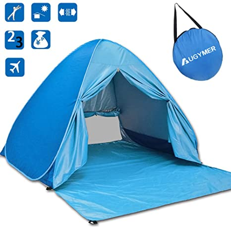 Amazoncom Augymer Beach Tent Uv Pop Up Sun Shelter Lightweight