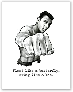 AtoZStudio A63 Muhammad Ali Poster // Box Wall Art Decor // Quote // Motivational Art Print // Gym Training Boxing Artwork // Picture // Float Like A Butterfly (8x10)