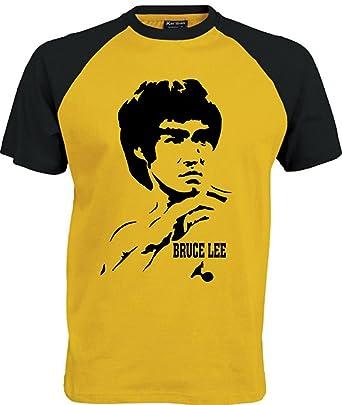 T-shirt Bruce Lee herren jersey Kleidung films (S, Schwarz gelb)
