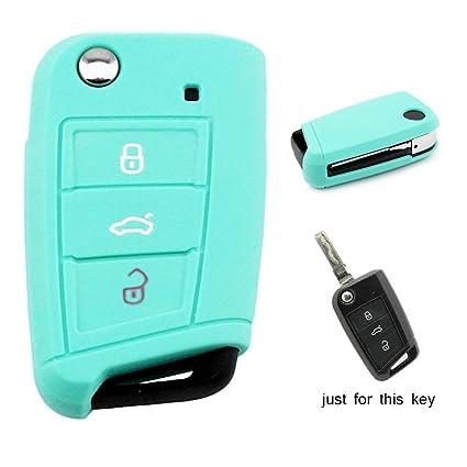 Carcasa de llave de Muchkey® Funda de silicona para las llaves del coche de 3 botones, funda protectora, 1pieza, azul