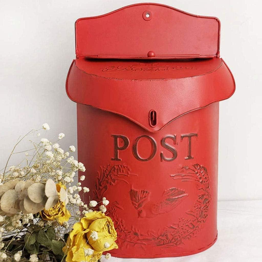 FCLGQ Bo/îte /à Lettres Lettre bo/îte aux Lettres en Fer forg/é R/étro verrouillables Ornement D/écor de Jardin Suggestion Murale Journal The Post Box